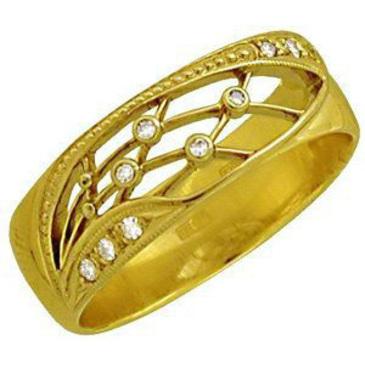 кольцо c бриллиантами из желтого золота 1403724