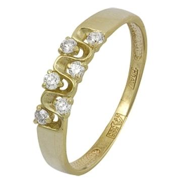 кольцо c бриллиантами из желтого золота 17038340
