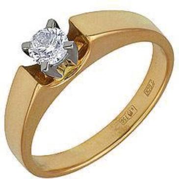 кольцо c бриллиантом из желтого золота 14031558