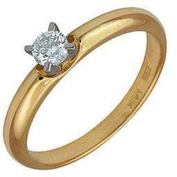 кольцо c бриллиантом из желтого золота 14031559