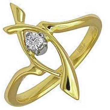 кольцо c бриллиантом из желтого золота 14031587