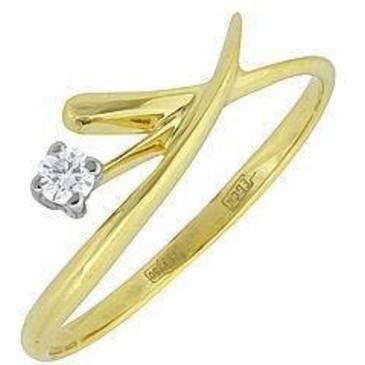 кольцо c бриллиантом из желтого золота 14032410