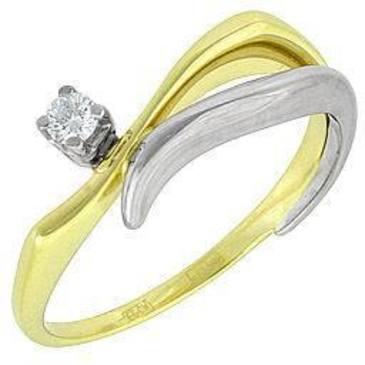 кольцо c бриллиантом из желтого золота 14032508