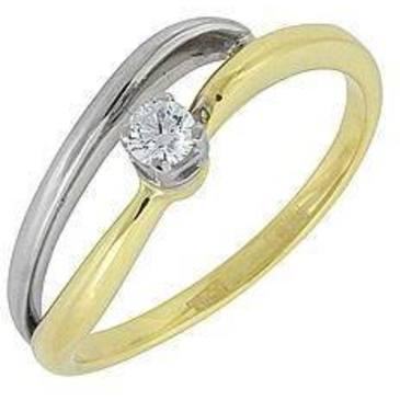 кольцо c бриллиантом из желтого золота 14032511
