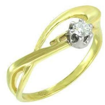 кольцо c бриллиантом из желтого золота 14032873
