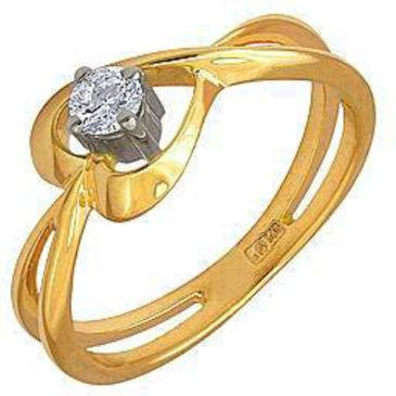 кольцо c бриллиантом из желтого золота 17031592