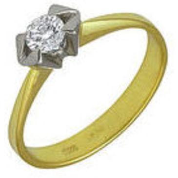 кольцо c бриллиантом из желтого золота 1403232