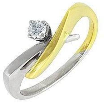 кольцо c бриллиантом из желтого золота 14032517