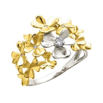 Кольцо 'ЦВЕТОЧНАЯ ПОЛЯНА' из желтого золота К-14045