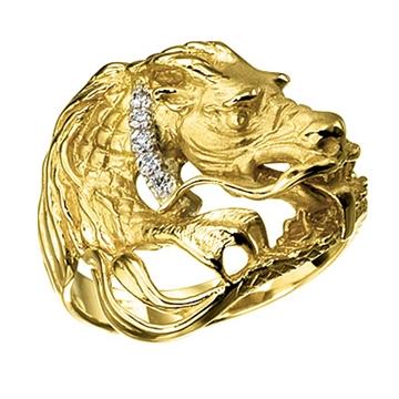 Кольцо 'ДРАКОН' с бриллиантами из желтого золота К-24039