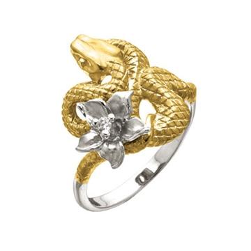 Кольцо 'ЭФА' Змея с бриллиантами из желтого золота К-24053