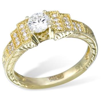 Кольцо из  желтого золота с бриллиантами из желтого золота R11365YG от EVORA
