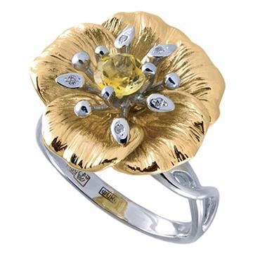 Кольцо 'Яблоневый цвет' из желтого золота К-14056