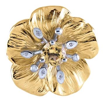Кольцо 'Яблоневый цвет' из желтого золота П-14056