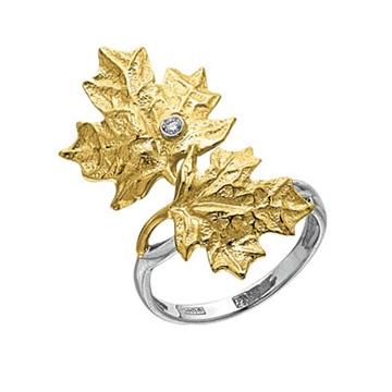 Кольцо 'КЛЕНОВЫЕ ЛИСТЬЯ' с бриллиантом из желтого золота К-14038