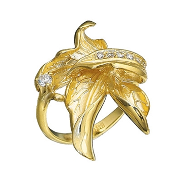 кольцо Кленовый лист с бриллиантами из желтого золота К-11025