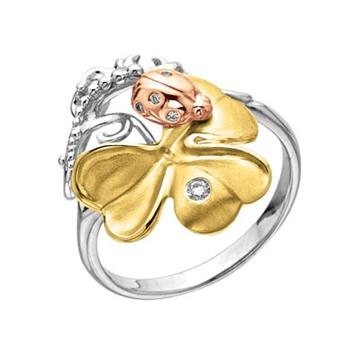 Кольцо КЛЕВЕР с бриллиантами из желтого золота К-14040