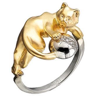Кольцо Кот c бриллиантами из желтого золота К-24030