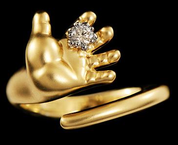 Кольцо Ладошка с цветком с бриллиантом из желтого золота 12150