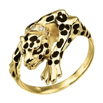 Кольцо 'ЛЕОПАРД' с эмалью и бриллиантами из желтого золота К-24044