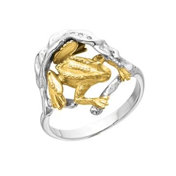 Кольцо Лягушка с бриллиантами из желтого золота К-24052