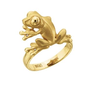 Кольцо 'лягушонок' с бриллиантами из желтого золота К-24050