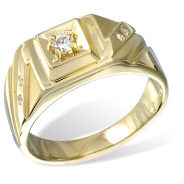 Кольцо мужское с бриллиантами из желтого золота R20210YG от EVORA