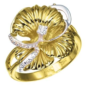 Кольцо 'НЕЖНОСТЬ' из желтого золота К-14029