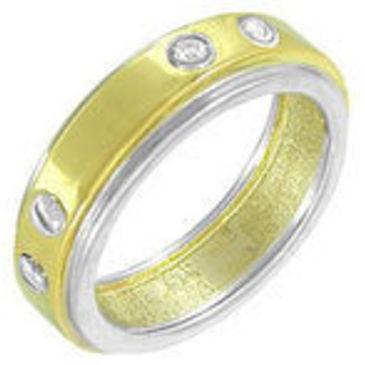 кольцо обручальное c бриллиантами из желтого золота 14032767
