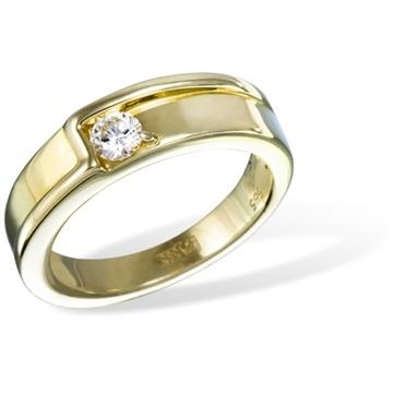 Кольцо обручальное из  желтого золота с бриллиантами из желтого золота R10720YG от EVORA