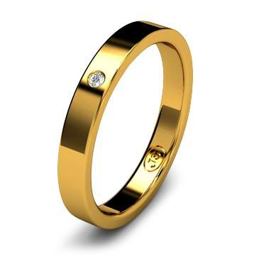 Кольцо обручальное с бриллиантом шириной 3 мм из желтого золота W135YD141