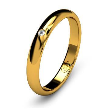 Кольцо обручальное с бриллиантом шириной 3 мм из желтого золота W235YD141
