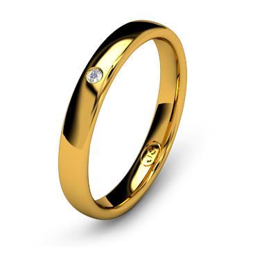 Кольцо обручальное с бриллиантом шириной 3 мм из желтого золота W335YD141