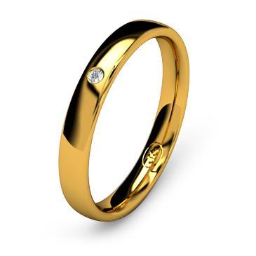 Кольцо обручальное с бриллиантом шириной 3 мм из желтого золота W435YD141