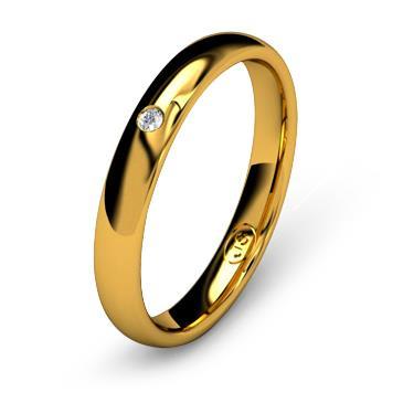 Кольцо обручальное с бриллиантом шириной 3 мм из желтого золота W535YD141