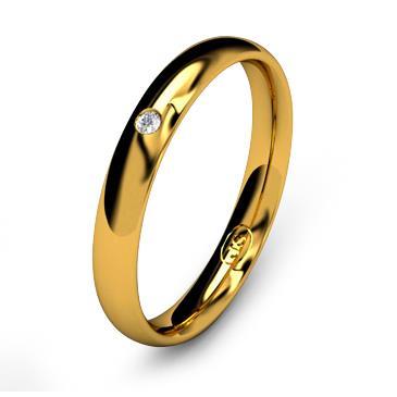 Кольцо обручальное с бриллиантом шириной 3 мм из желтого золота W635YD141