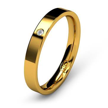 Кольцо обручальное с бриллиантом шириной 3 мм из желтого золота W735YD141