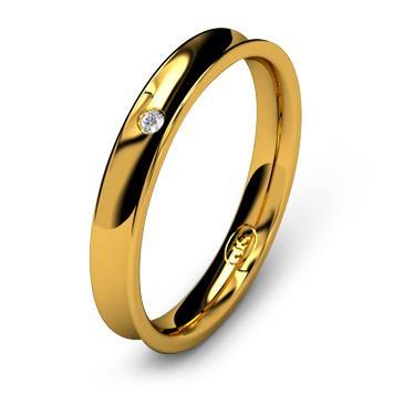 Кольцо обручальное с бриллиантом шириной 3 мм из желтого золота W835YD141