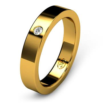 Кольцо обручальное с бриллиантом шириной 4 мм из желтого золота W145YD201
