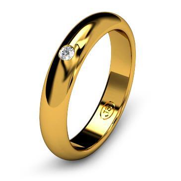 Кольцо обручальное с бриллиантом шириной 4 мм из желтого золота W245YD201