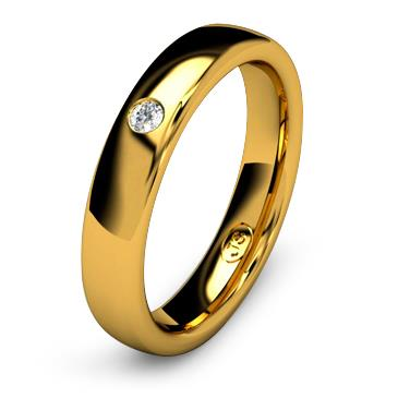 Кольцо обручальное с бриллиантом шириной 4 мм из желтого золота W345YD201