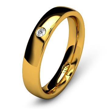 Кольцо обручальное с бриллиантом шириной 4 мм из желтого золота W445YD201