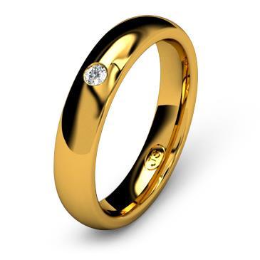 Кольцо обручальное с бриллиантом шириной 4 мм из желтого золота W545YD201