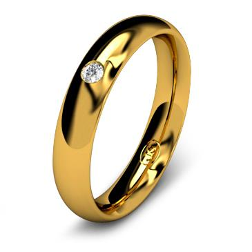 Кольцо обручальное с бриллиантом шириной 4 мм из желтого золота W645YD201