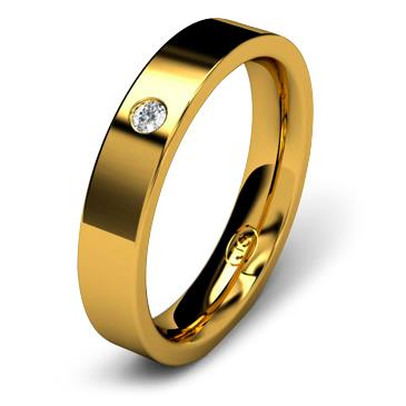 Кольцо обручальное с бриллиантом шириной 4 мм из желтого золота W745YD201