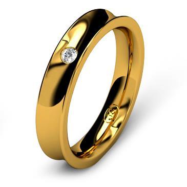 Кольцо обручальное с бриллиантом шириной 4 мм из желтого золота W845YD201
