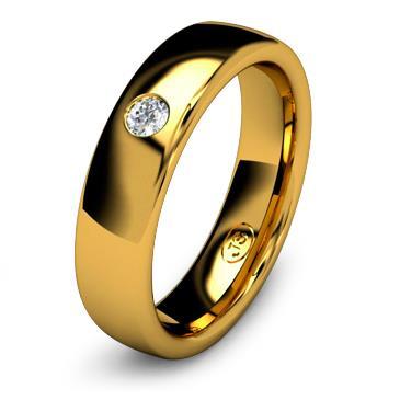 Кольцо обручальное с бриллиантом шириной 5 мм из желтого золота W355YD251