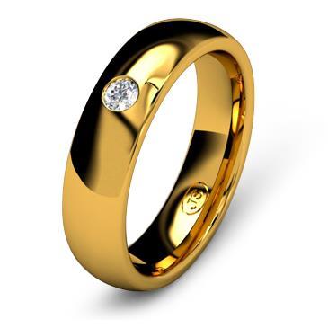 Кольцо обручальное с бриллиантом шириной 5 мм из желтого золота W455YD251