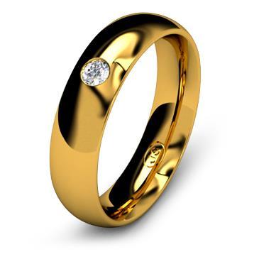 Кольцо обручальное с бриллиантом шириной 5 мм из желтого золота W655YD251