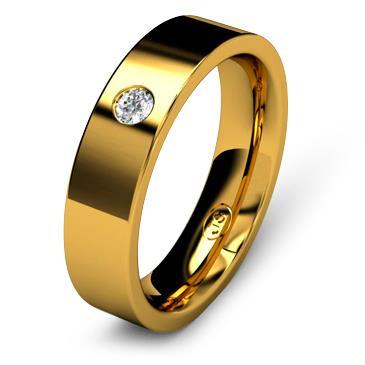 Кольцо обручальное с бриллиантом шириной 5 мм из желтого золота W755YD251
